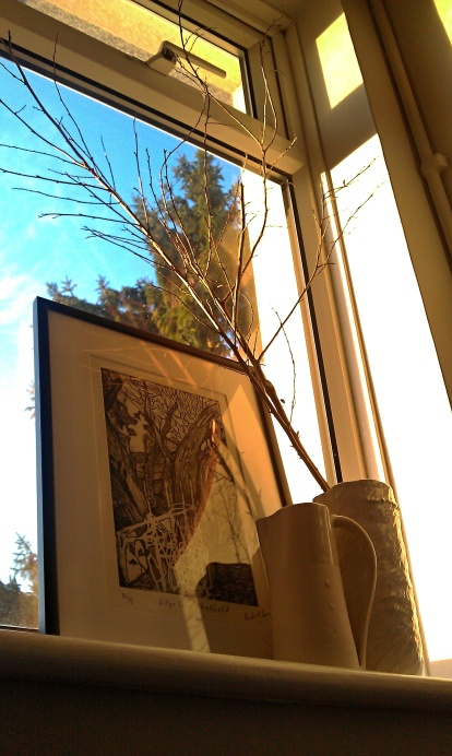 One of my wobbly pots and a print by Robert Jones